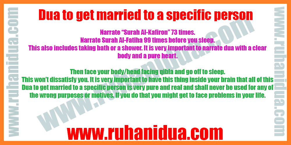 Dua to get married to a specific person - 101% Working