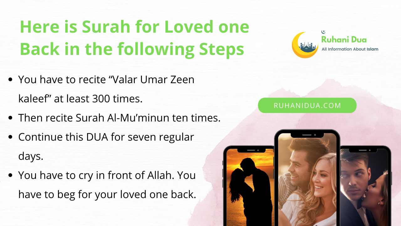 Here is Surah for Loved one Back in the following Steps